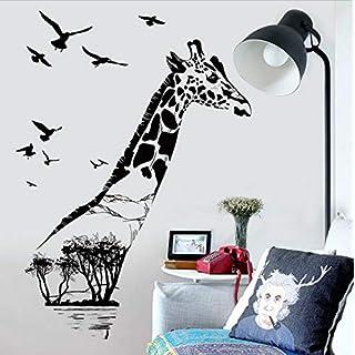 zhimu Wall Stickers Mural Giraffa Albero Lago Uccelli Adesivi murali Decorazioni per la casa Soggiorno Camera da letto Camera da letto Cucina Carta da parati Creativo Poster murale