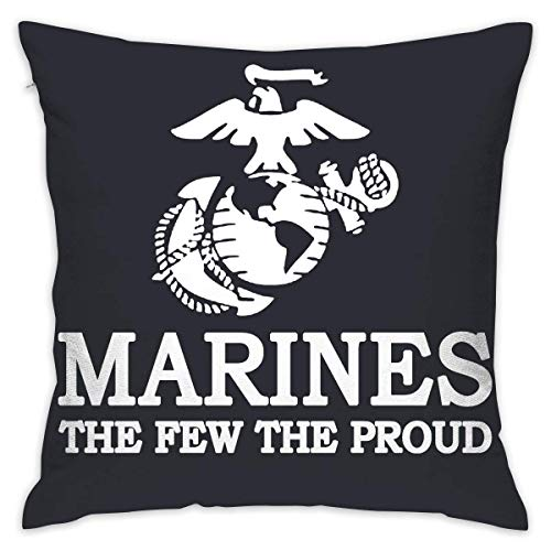 USMC The Few The Proud Marines Logo Square Throw Pillow Cover Cases for Chair 18 X 18 Inches -