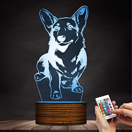 (3D Lampe Nachtlicht Corgi Hund Fernbedienung 7 Farbwechsel Optische Täuschung Tisch Schreibtischlampe für Kinder Baby Schlaf Mond Atmosphäre Lichter Stillen Stillende Lampen)