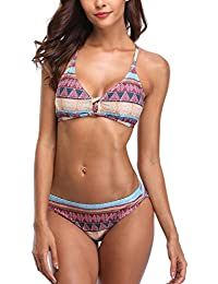 CharmLeaks Damen Tribal Print Triangel Bikini Neckholder Fitness Oberteil Tops und Bottoms Lace Up Bikini Set Bügellos