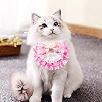 AriTan Pet Bandana Costume, Cat Pink Bow Lace Apparel Triangle Scarf Accessories, Dress up Lace Breathable Bibs for Small and Medium-Sized