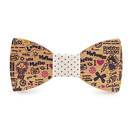 YAOSHI-Bow tie/tie Krawatten und Fliegen für Herren Holz Fliege süße Comic Farbe gedruckt Geburtstag Taschentuch Classic Krawatten und Fliegen für (Farbe : Beige, Größe : 5 * 9.5cm)