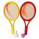 Zantec Giocattolo Racchette di plastica Set Racchette da Tennis Battledores con Tennis e Badminton Bambini Giocattolo Sportivo Colore Casuale
