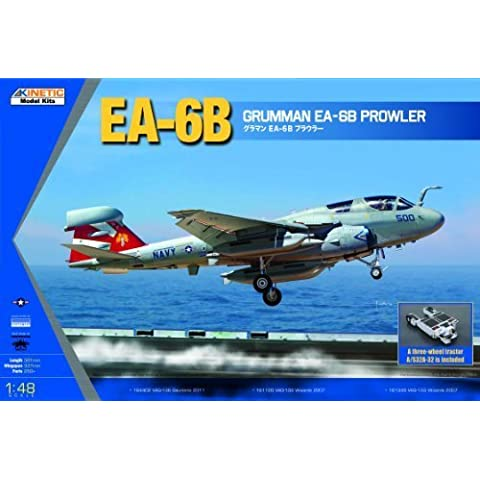 Kinetic Model 1:48 EA-6B Prowler (New Wings) with a three-wheel tractor K48044 by Kinetic