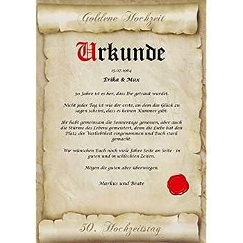 Goldene Hochzeit Urkunde Personalisiert Geschenk Karte Zum 50 Hochzeitstag A4
