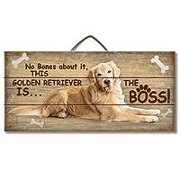 Merle11Eleanor Golden Retriever is the Boss Reclaimed Wood Plaque Hanging Sign 6 x 12 Inch