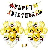 Amosfun Set di escavatore a palloncino stampato in lattice Set di banner buon compleanno (modello di escavatore 12 pezzi + palloncini con puntini 8 pezzi + banner 1pz + 2 rotoli di nastro)