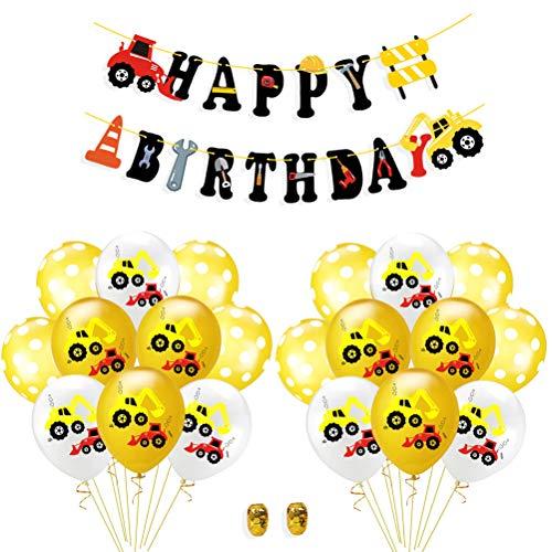Amosfun 23 stücke Bagger Ballon BAU LKW Dekoration Alles Gute zum Geburtstag LKW Banner (12 stücke Bagger Muster + 8 stücke dot Ballons + 1 stück Banner + 2 Rollen Band) (Bau-geburtstags-ballons)
