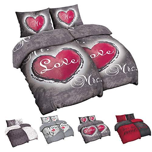 Niceprice 4 teilig Microfaser Partner Bettwäsche 2X 135x200 2X 80x80 cm, Grau Rot Mr. und Mrs. Heart-Love