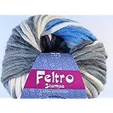 Lana Grossa Feltro Stampa 1404rohweiß/azul claro/antracita/negro 50g