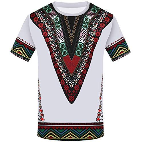 CICIYONER Bluse für Herren, Mode-afrikanisches gedrucktes T-Shirt der Männer Kurzarm Freizeithemd Tops Runder T-Shirt mit Runddruck im Ethno-Stil S-2XL (Mode Afrikanische Kleidung)