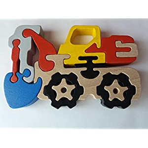 Holzpuzzle Bagger handgemachte Maschinen konstruktionen massives Buchenholz Spielzeug Nutzfahrzeug Geschenk für Jungen aus Holz Autotransportern