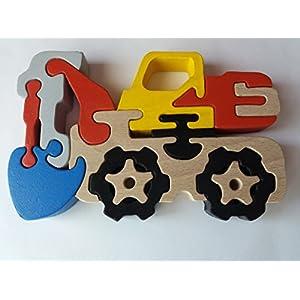 Holzpuzzle Bagger handgemachte Maschinen konstruktionen massives Buchenholz Spielzeug Nutzfahrzeug Geschenk für Jungen…