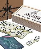 Jaques of London Dominoes - Club Double Nine Dominoes incastonati in Scatola di Legno Slide D9 Box