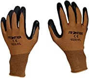 TheCoolio Midas Safety Brown Shell with Black Crinkle Finish Latex Coating Glove (Large)