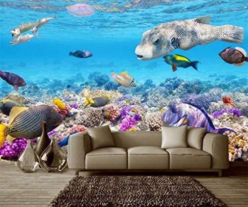 Carta da parati carta da parati murale 3d per acquario con pesci tropicali