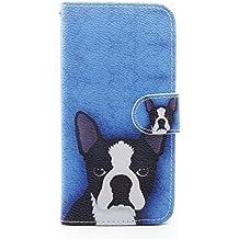 COWX - Funda de móvil tipo libro de de piel sintética con paño de limpieza