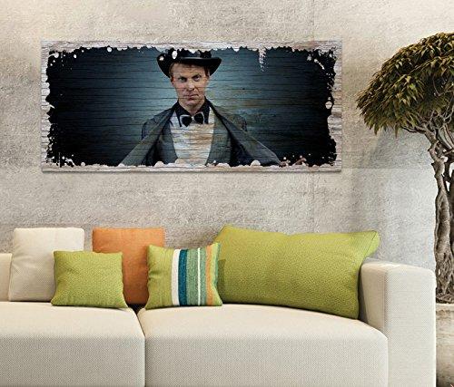 Holzbild 100x40cm Zauber Zauberer Magie Hut Druck auf Holz Holzbilder Vintage Bild UV Foto Wandbild Wandbilder W0812, Holz Gr 1:100x40 cm