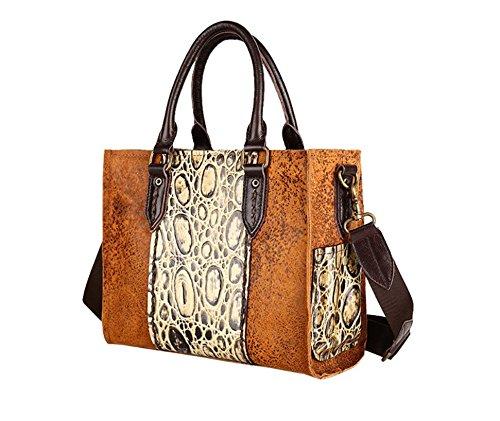 Otomoll Meine Damen Handtasche Leder Handtasche Umhängetasche Messenger Bag Retro Mode Baum Hautcreme, Mode Handtasche