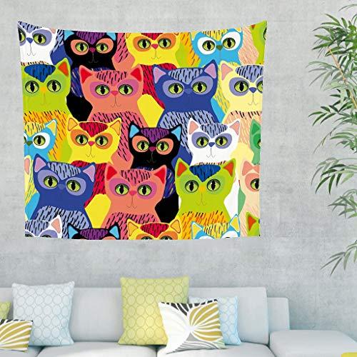 Katze Pop Art Wandteppich Wandbehang Modern Art Tuch Wandtuch Tapestry Tapisserie Wanddeko für Schlafzimmer Strandtuch Tischdecke Bunt 200x150cm (Modern Wandbehang Wandteppich)