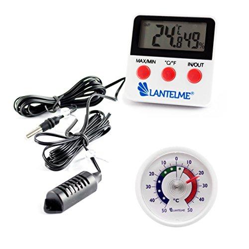 Set Digital Kombi Innen Thermometer Hygrometer mit Außen Fühler und MinMax Funktion und Analog Thermometer Bimetall . Thermohygrometer mit Aussentemperatur Anzeige