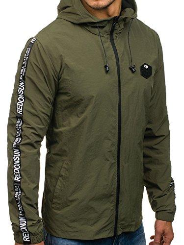 BOLF giacca mezza stagione – Con cappuccio – Chiusa a zip – Mimetica – Di moda – Stile quotidiano – Da uomo [4D4] Verde_HY197