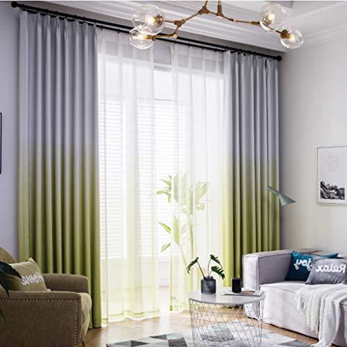 YANQ Einfacher moderner Vorhang fertiggestelltes nordisches amerikanisches frisches Garten-Schlafzimmer, das Wohnzimmer-Boden-Schaufenster-Vorhang schattiert (Farbe : Green, größe : 250cm*270cm)
