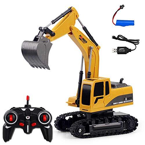 AOLVO Funk-Bagger, 6-Kanal voll funktionsfähiger RC Bagger, 1:24 Crawler Traktor Baufahrzeug, USB wiederaufladbarer Bagger Spielzeug mit Licht und Sound, Geschenk für Kinder Full Plastic*