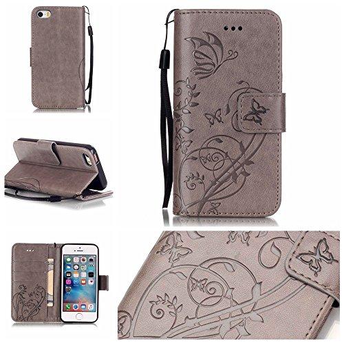 JIALUN-Telefon Fall Mit Kartensteckplatz, Lanyard, Druck Schöne Muster Mode Open Handy Shell Für IPhone 5 5S SE ( Color : Blue , Size : IPhone 5S SE ) Gray
