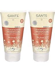 SANTE Naturkosmetik Feuchtigkeits Haarspülung Bio-Mango and Aloe, Fruchtiger Duft, Gesundes Haar, Vegan, 2x150g Doppelpack