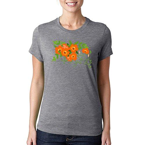 Trumpet vine flowers logo colorful Dammen baumwolle t-shirt Grau
