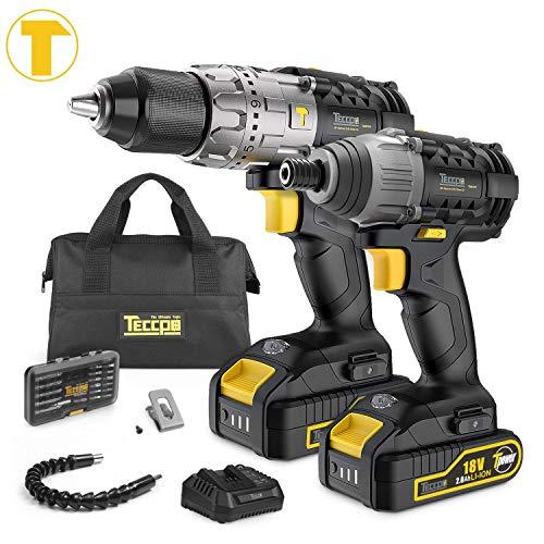 Taladro Atornillador, TECCPO Professional 60Nm Taladro Bateria, 180Nm Atornillador a Bateria, 2 Baterías...