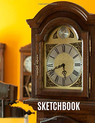 Sketchbook: Antique Clock Collectibles Men Artist Designer Crafts Hobby Blank Unlined Unruled Drawing Writing Sketch Book, 150 Pages 8.5x11 (Womens-business-watch-designer)