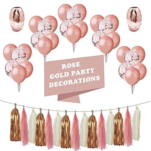 MAIKEHIGH Rosé Gold Luftballon Party Dekoration Set of 48 Stück, 20 Latex Luftballons 10 Konfetti Ballons 12 Zoll, Quaste Band, für Hochzeits Geburtstagsparty Zimmer