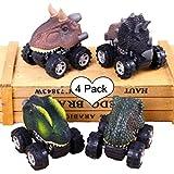DQTYE Zurückziehen Dinosaurier Autos Lustige 4 Pack Fahrzeug Modell Dinosaurier LKW Reibung Powered Mini Rad Auto Pädagogisches Spielzeug Für Kinder Baby Toddle