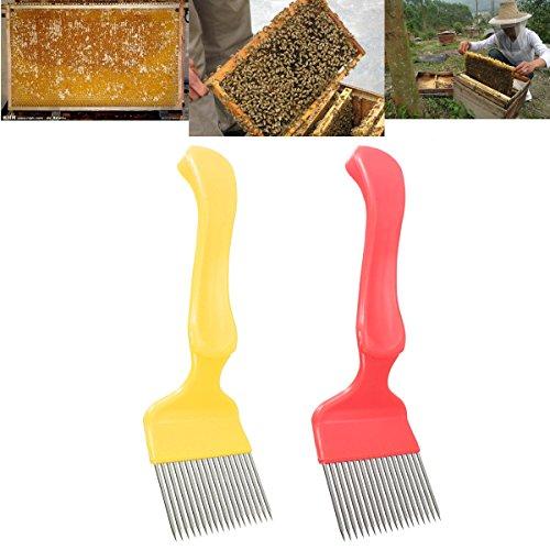 LM Miel en acier inoxydable peigne l'apiculture Griffe pour émousseur uncapping Fourchette Hive Outil jaune