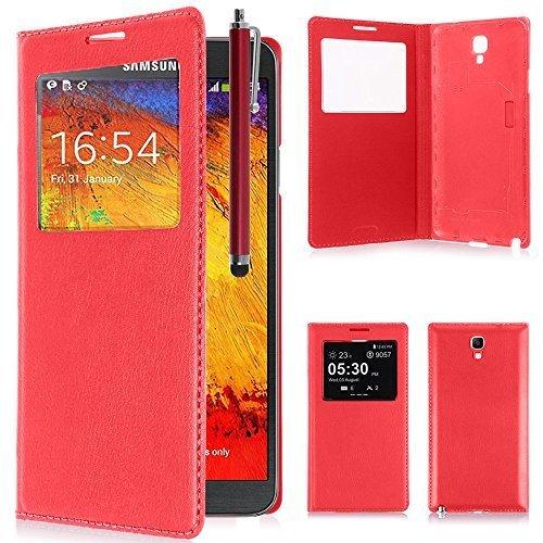 VCOMP Custodia Cover Guscio sportellino Vista Compatibile con Samsung Galaxy Note 3 Neo/Lite Duos 3G LTE SM-N750 SM-N7505 SM-N7502 - Rosso + Pennino