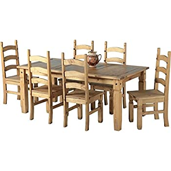 Mexican Corona 6ft Pine 70 Dining Table Set / 6 Chairs Antique Waxed By  Mexican Corona Part 40