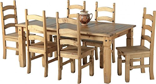Mexican Corona Ft Pine Dining Table Set Chairs Antique Waxed - 6ft dining table and chairs