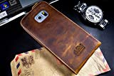 Original Akira Hand Made [Echt Leder] Handyhülle Samsung Galaxy S6 Edge Flip Limited Edition Wallet Cover Handgemacht Case Schutzhülle Etui Flip Wallet Pen [DEUTSCHER FACHHANDEL] Dunkel braun