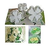 Shenlu 3Pcs / Set Lucky Clovers Cake Sugarcraft Piston Fondant Cutter Décorer Moule Outils DIY - Outil de Gaufrage Papillon Coeur 4 Papilles Coeur (Blanc)