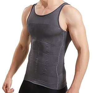 HANERDUN Kompressionsunterwäsche I Herren Tanktop I figurformendes Unterhemd für Männer I Sport Fitness I T-Shirt Bodyshaper Bauchweg