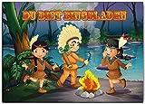 Einladungskarten Kindergeburtstag Indianer Indianerparty Indianer-feier (8 Stück) Set Abenteuer Cowboy Jungen Mädchen Einladung