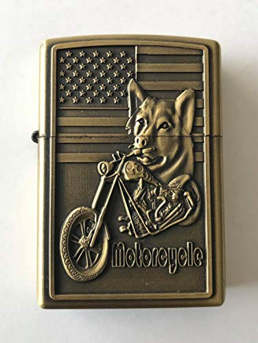 Jiantai Lighters Edition Limitada Encendedor Recargable USA Motorcycle Lobo Relieve 3D Design con Caja Regalo