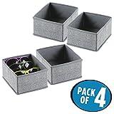 mDesign 4er-Set Stoffbox für Schrank oder Schublade – die ideale Aufbewahrungsbox (Stoff) – flexibel verwendbare Stoffkiste – grau