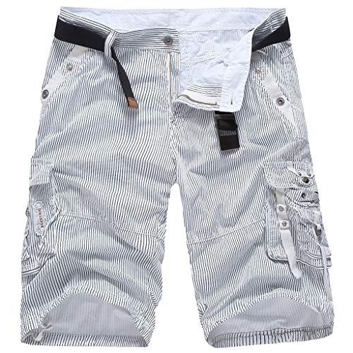Cargo Bermuda Shorts Herren GreatestPAK Streifen Tasche Hose Casual Outdoor Strand Arbeits Kurze Hosen,Weiß,EU:M(Tag:XL) -