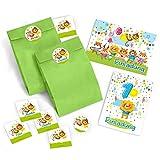 10 Einladungskarten zum 1. Kindergeburtstag für Jungen incl. 10 Umschläge und 10 Party-Tüten mit 10 Aufkleber / bunte Einladungen zum Geburtstag für Jungen