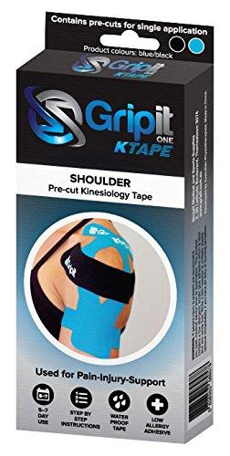 Tenscare G1SBB1 Gripit - Vorgeschnitten Kinesiology Tape - Schulter, schwarz und blau