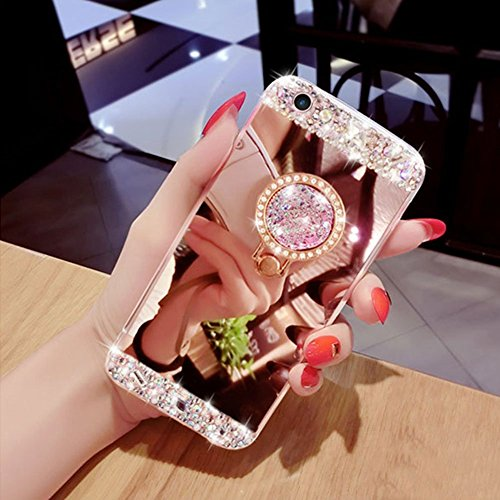 Cover a Specchio per iPhone 6 6S,Areall Cristallo Chiaro Case Custodia Protettiva in TPU,Rhinestone Lusso Scintillante Diamante Bumper con Anelli Kickstand per iPhone 6S / 6 + Proteggi Schermo,Oro Ros Oro Rosa