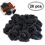 WINOMO 20pcs Seide Rose Blume Köpfe schwarz künstliche für DIY Party Hochzeitsdekoration